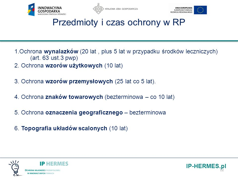 IP-HERMES.pl 12 Przedmioty i czas ochrony w RP 1.Ochrona wynalazków (20 lat, plus 5 lat w przypadku środków leczniczych) (art. 63 ust.3 pwp) 2. Ochron