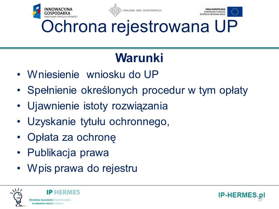 IP-HERMES.pl Ochrona rejestrowana UP Warunki Wniesienie wniosku do UP Spełnienie określonych procedur w tym opłaty Ujawnienie istoty rozwiązania Uzysk