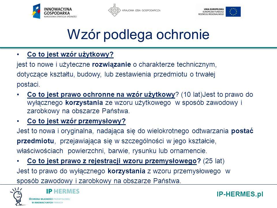 IP-HERMES.pl Wzór podlega ochronie Co to jest wzór użytkowy? jest to nowe i użyteczne rozwiązanie o charakterze technicznym, dotyczące kształtu, budow