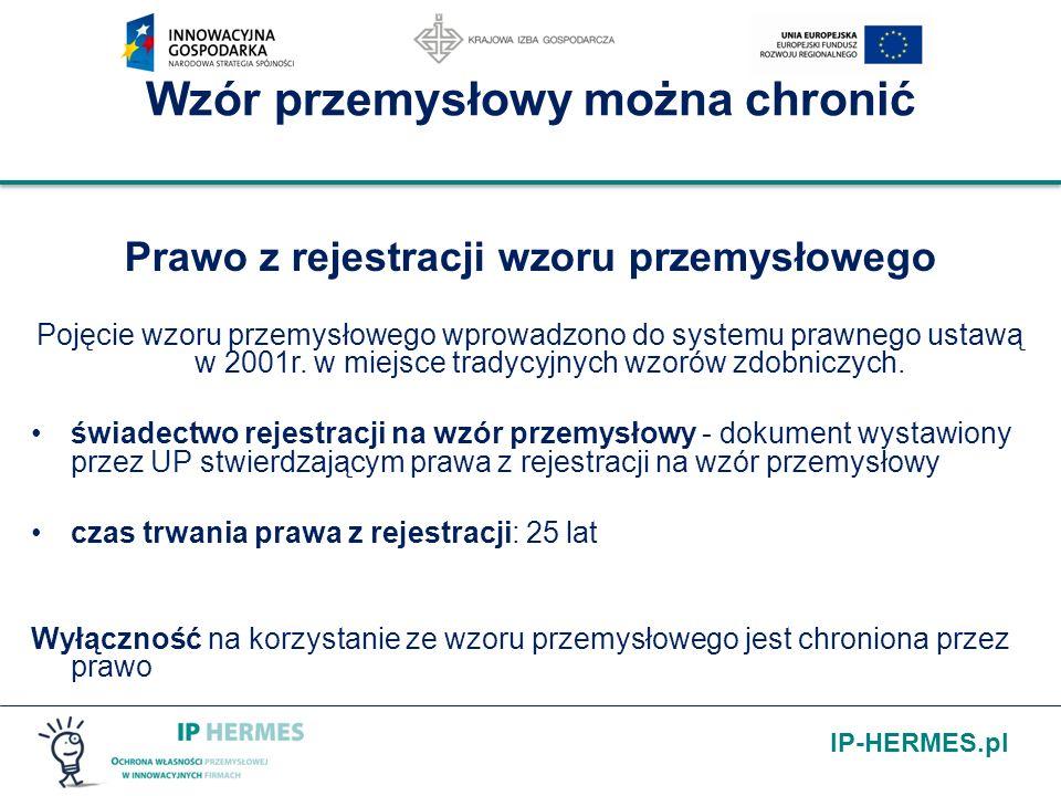 IP-HERMES.pl Wzór przemysłowy można chronić Prawo z rejestracji wzoru przemysłowego Pojęcie wzoru przemysłowego wprowadzono do systemu prawnego ustawą
