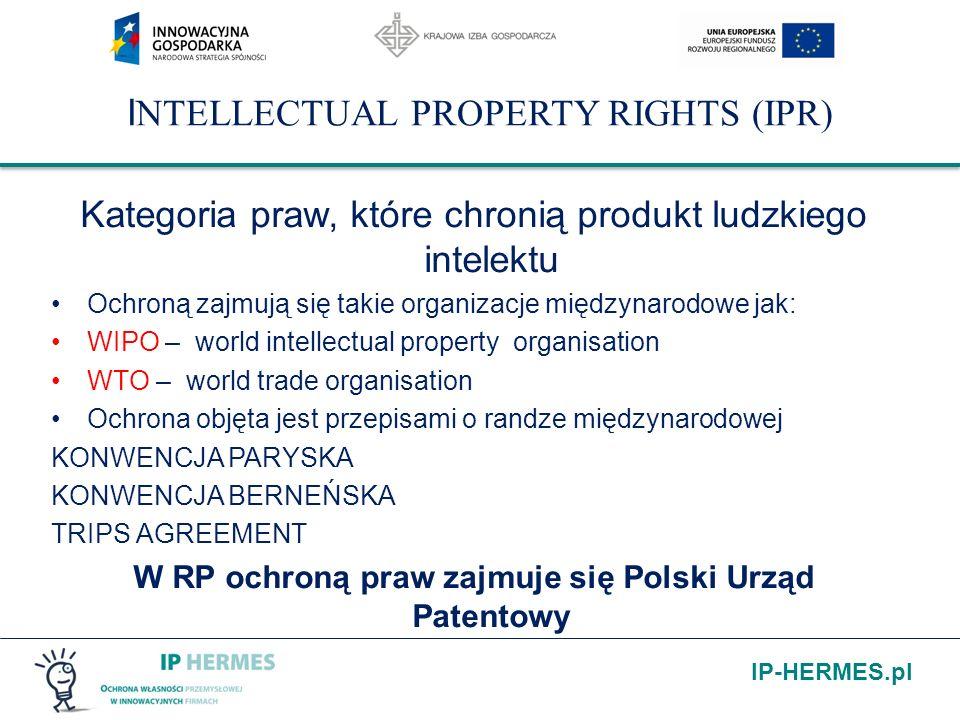 IP-HERMES.pl I NTELLECTUAL PROPERTY RIGHTS (IPR) Kategoria praw, które chronią produkt ludzkiego intelektu Ochroną zajmują się takie organizacje międz