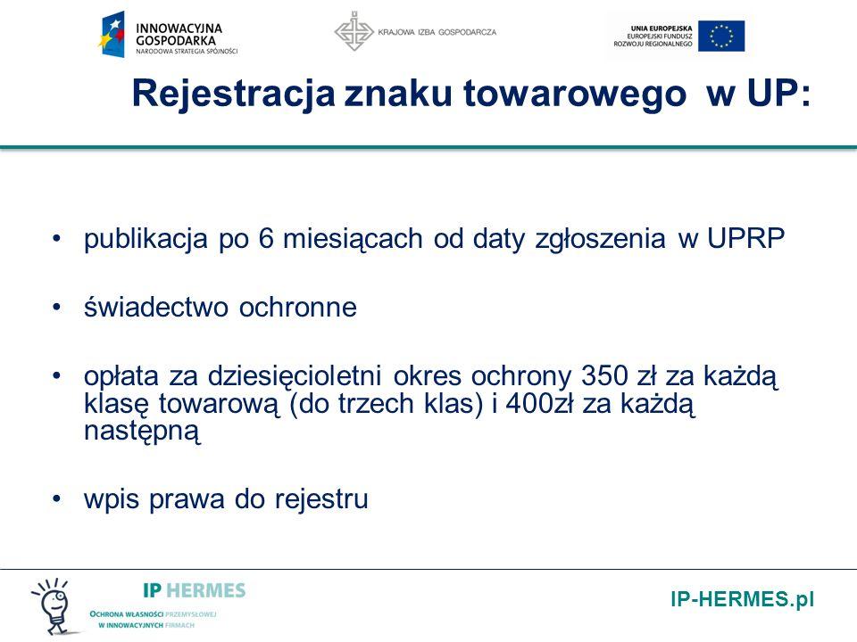 IP-HERMES.pl Rejestracja znaku towarowego w UP: publikacja po 6 miesiącach od daty zgłoszenia w UPRP świadectwo ochronne opłata za dziesięcioletni okr