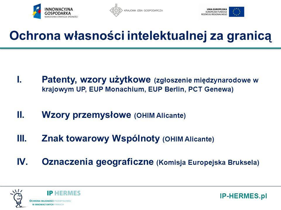 IP-HERMES.pl Ochrona własności intelektualnej za granicą I.Patenty, wzory użytkowe (zgłoszenie międzynarodowe w krajowym UP, EUP Monachium, EUP Berlin