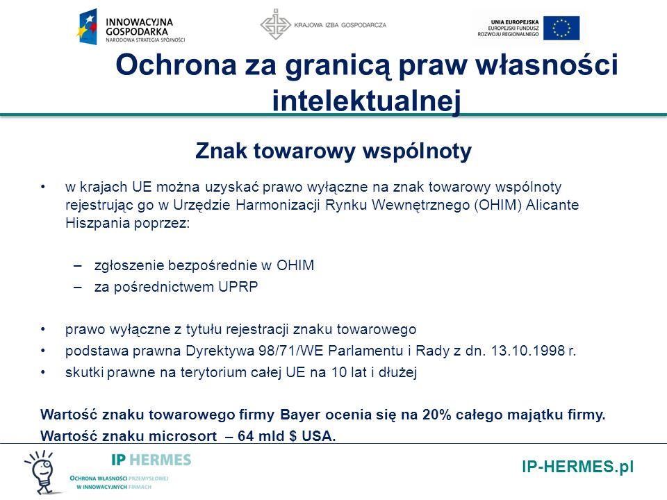 IP-HERMES.pl Ochrona za granicą praw własności intelektualnej Znak towarowy wspólnoty w krajach UE można uzyskać prawo wyłączne na znak towarowy wspól