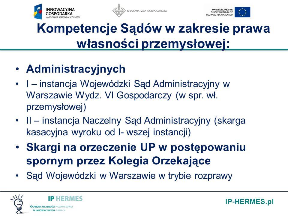 IP-HERMES.pl Kompetencje Sądów w zakresie prawa własności przemysłowej: Administracyjnych I – instancja Wojewódzki Sąd Administracyjny w Warszawie Wyd