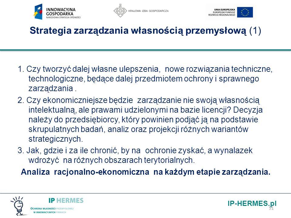IP-HERMES.pl Strategia zarządzania własnością przemysłową (1) 1. Czy tworzyć dalej własne ulepszenia, nowe rozwiązania techniczne, technologiczne, będ