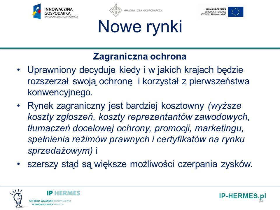 IP-HERMES.pl Nowe rynki Zagraniczna ochrona Uprawniony decyduje kiedy i w jakich krajach będzie rozszerzał swoją ochronę i korzystał z pierwszeństwa k