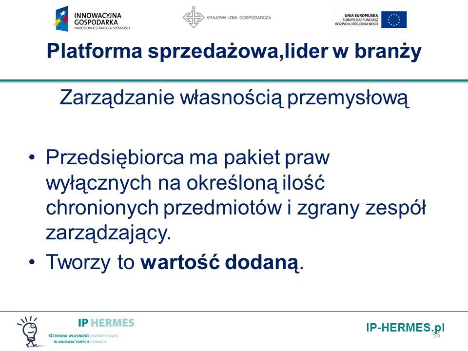 IP-HERMES.pl Platforma sprzedażowa,lider w branży Zarządzanie własnością przemysłową Przedsiębiorca ma pakiet praw wyłącznych na określoną ilość chron