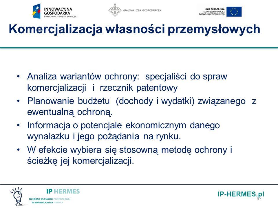 IP-HERMES.pl Komercjalizacja własności przemysłowych Analiza wariantów ochrony: specjaliści do spraw komercjalizacji i rzecznik patentowy Planowanie b