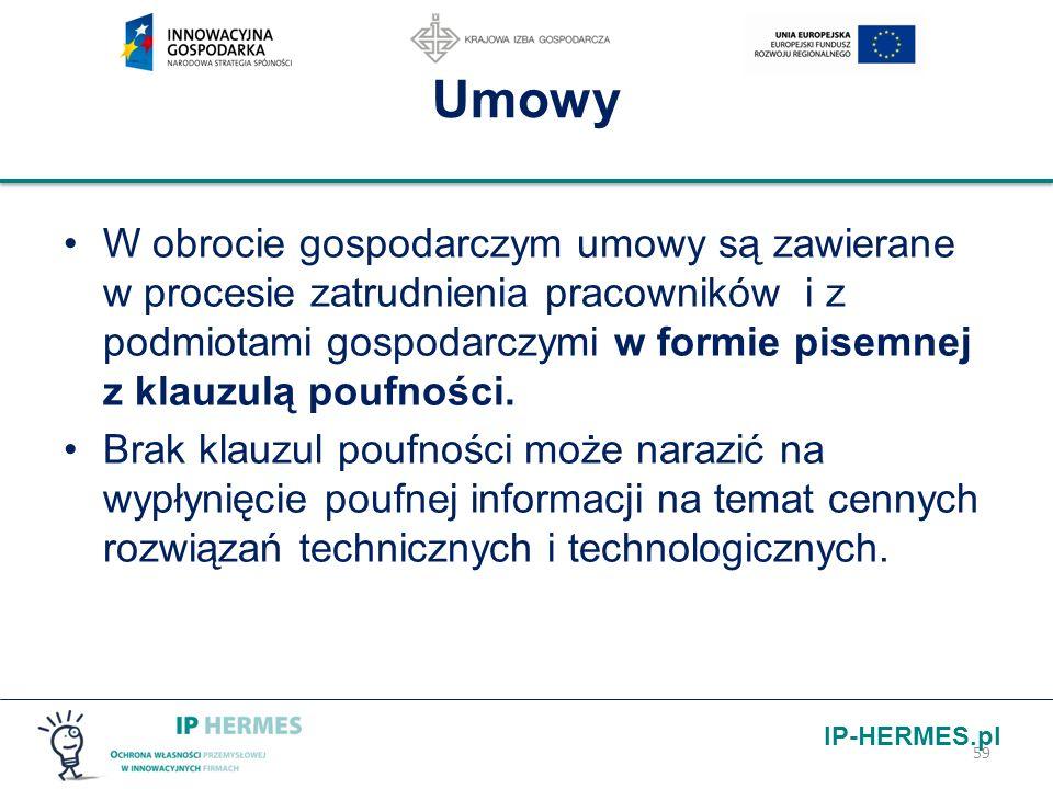 IP-HERMES.pl Umowy W obrocie gospodarczym umowy są zawierane w procesie zatrudnienia pracowników i z podmiotami gospodarczymi w formie pisemnej z klau