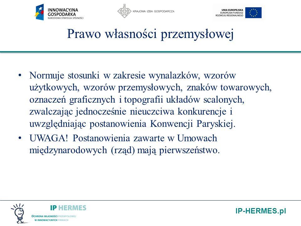 IP-HERMES.pl Prawo własności przemysłowej Normuje stosunki w zakresie wynalazków, wzorów użytkowych, wzorów przemysłowych, znaków towarowych, oznaczeń
