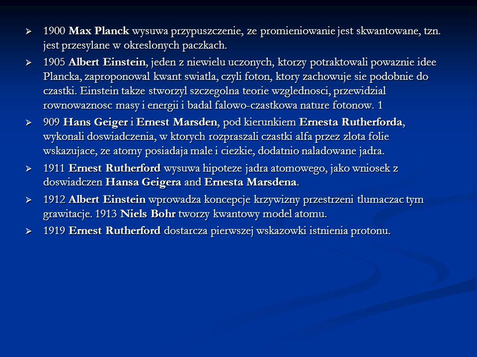 1900 Max Planck wysuwa przypuszczenie, ze promieniowanie jest skwantowane, tzn. jest przesylane w okreslonych paczkach. 1900 Max Planck wysuwa przypus