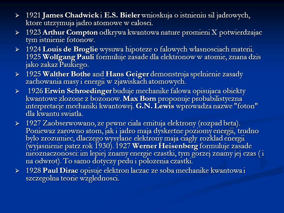 1921 James Chadwick i E.S. Bieler wnioskuja o istnieniu sil jadrowych, ktore utrzymuja jadro atomowe w calosci. 1921 James Chadwick i E.S. Bieler wnio