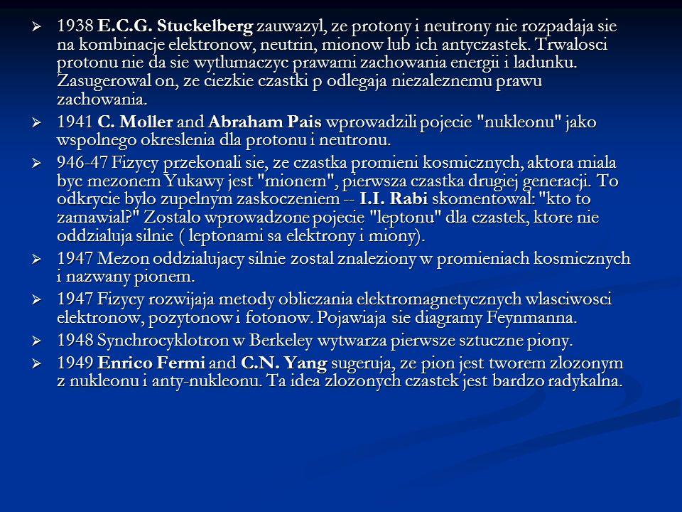 1938 E.C.G. Stuckelberg zauwazyl, ze protony i neutrony nie rozpadaja sie na kombinacje elektronow, neutrin, mionow lub ich antyczastek. Trwalosci pro