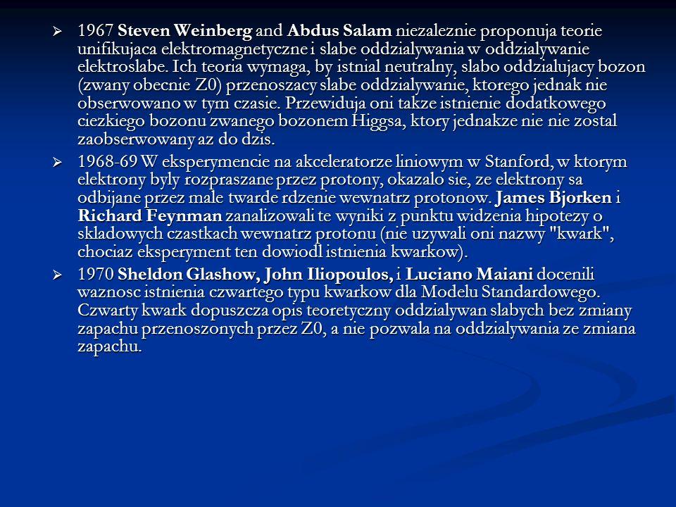 1967 Steven Weinberg and Abdus Salam niezaleznie proponuja teorie unifikujaca elektromagnetyczne i slabe oddzialywania w oddzialywanie elektroslabe. I