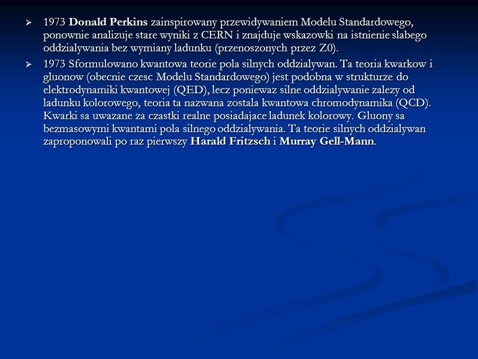 1973 Donald Perkins zainspirowany przewidywaniem Modelu Standardowego, ponownie analizuje stare wyniki z CERN i znajduje wskazowki na istnienie slabeg