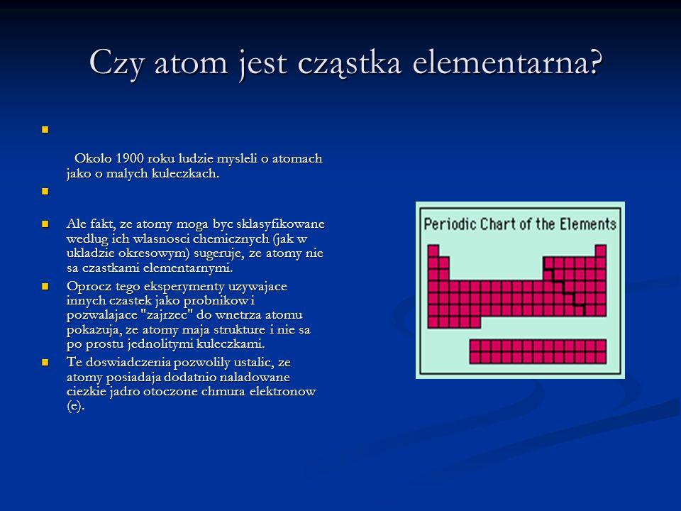 Czy atom jest cząstka elementarna? Czy atom jest cząstka elementarna? Okolo 1900 roku ludzie mysleli o atomach jako o malych kuleczkach. Okolo 1900 ro