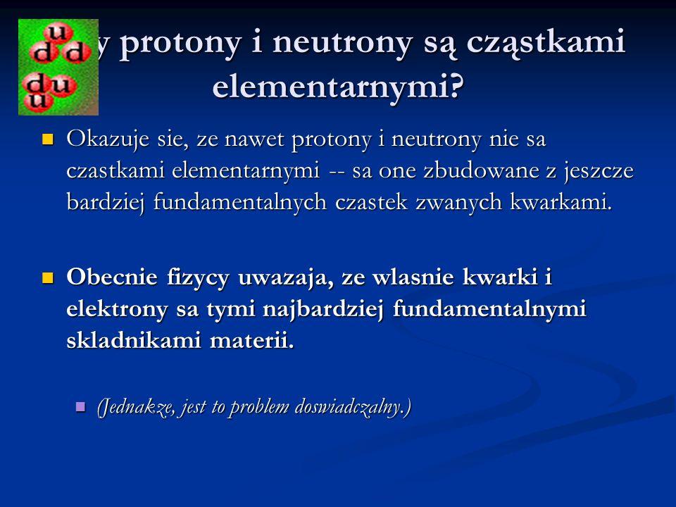 Czy protony i neutrony są cząstkami elementarnymi? Okazuje sie, ze nawet protony i neutrony nie sa czastkami elementarnymi -- sa one zbudowane z jeszc