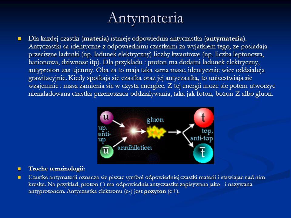 Antymateria Dla kazdej czastki (materia) istnieje odpowiednia antyczastka (antymateria). Antyczastki sa identyczne z odpowiednimi czastkami za wyjatki