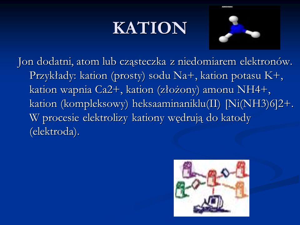 KATION Jon dodatni, atom lub cząsteczka z niedomiarem elektronów. Przykłady: kation (prosty) sodu Na+, kation potasu K+, kation wapnia Ca2+, kation (z