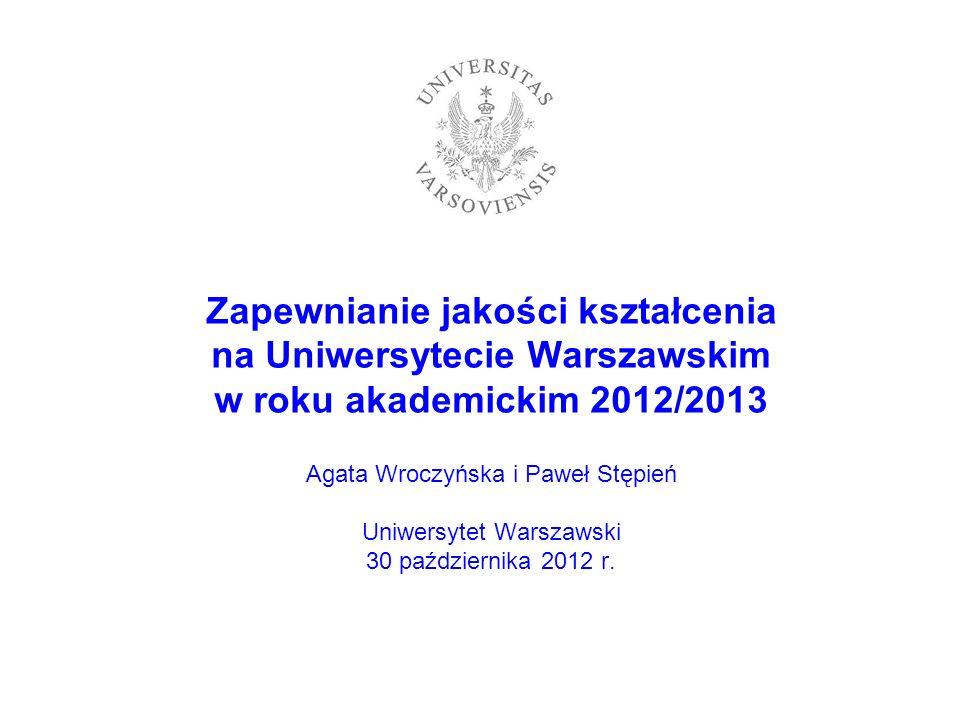 Zapewnianie jakości kształcenia na Uniwersytecie Warszawskim w roku akademickim 2012/2013 Agata Wroczyńska i Paweł Stępień Uniwersytet Warszawski 30 p