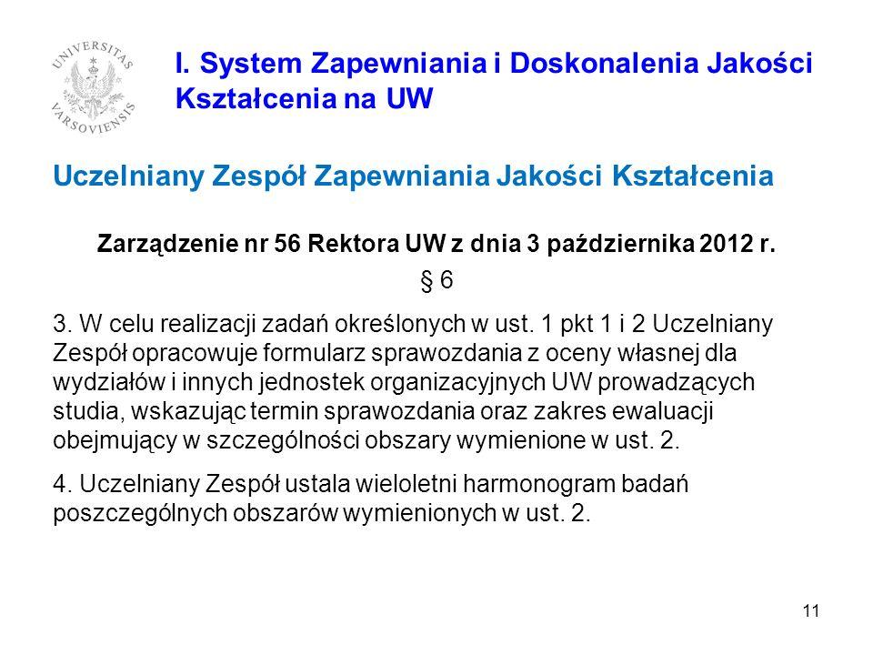Uczelniany Zespół Zapewniania Jakości Kształcenia Zarządzenie nr 56 Rektora UW z dnia 3 października 2012 r. § 6 3. W celu realizacji zadań określonyc
