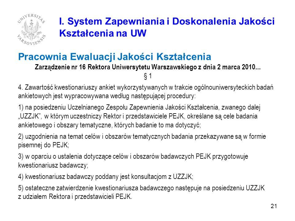Pracownia Ewaluacji Jakości Kształcenia Zarządzenie nr 16 Rektora Uniwersytetu Warszawskiego z dnia 2 marca 2010... § 1 4. Zawartość kwestionariuszy a