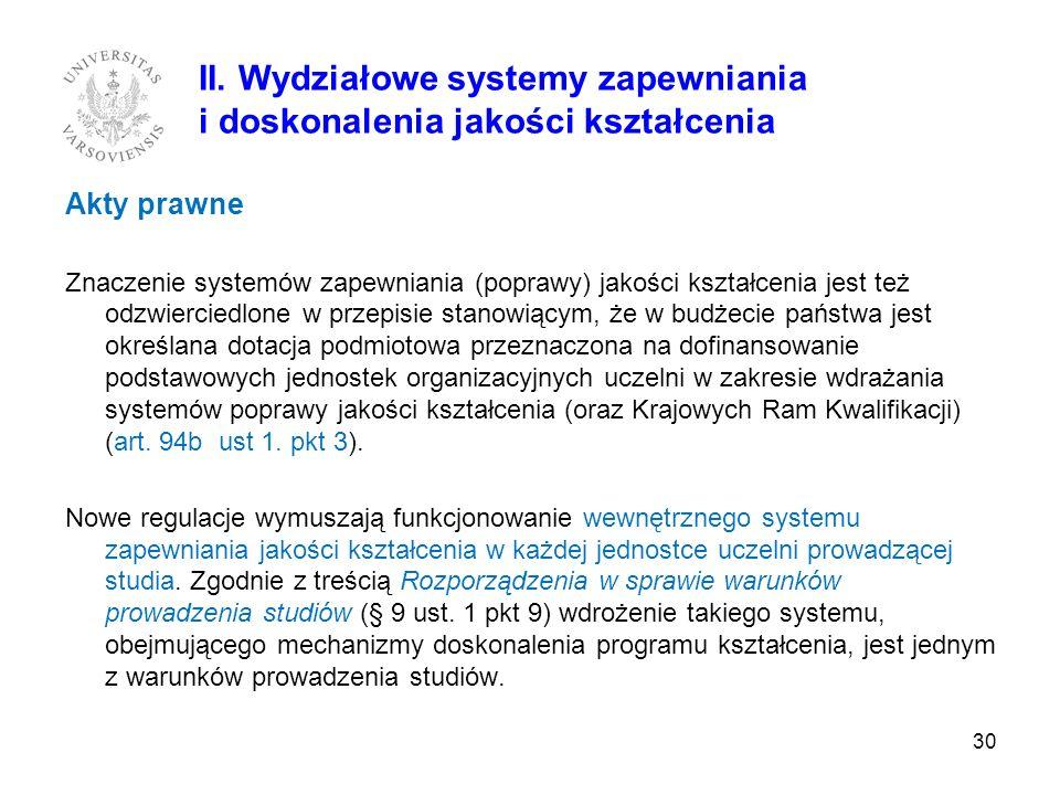 Akty prawne Znaczenie systemów zapewniania (poprawy) jakości kształcenia jest też odzwierciedlone w przepisie stanowiącym, że w budżecie państwa jest