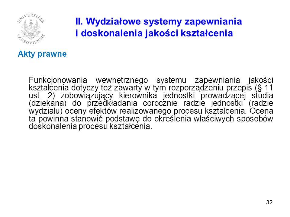 II. Wydziałowe systemy zapewniania i doskonalenia jakości kształcenia Akty prawne Funkcjonowania wewnętrznego systemu zapewniania jakości kształcenia