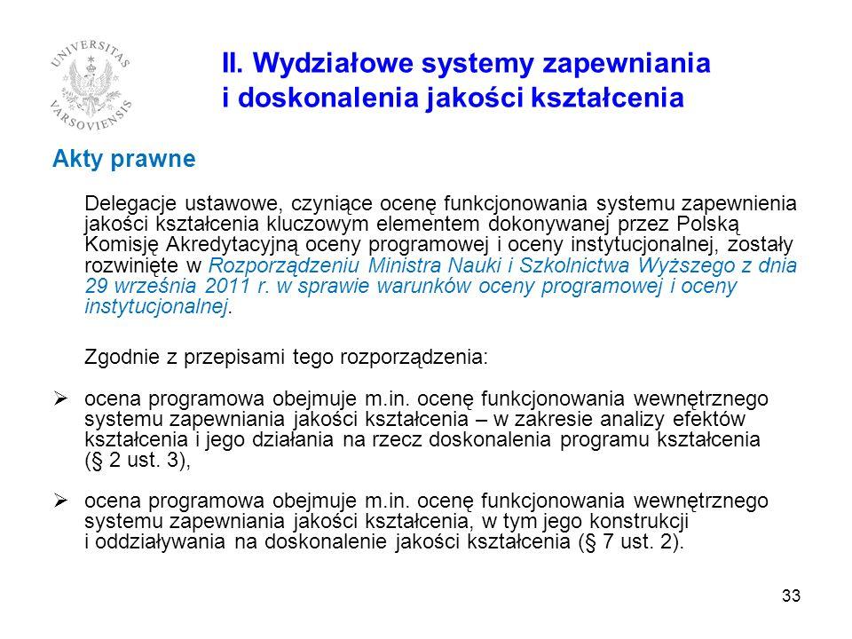 II. Wydziałowe systemy zapewniania i doskonalenia jakości kształcenia Akty prawne Delegacje ustawowe, czyniące ocenę funkcjonowania systemu zapewnieni
