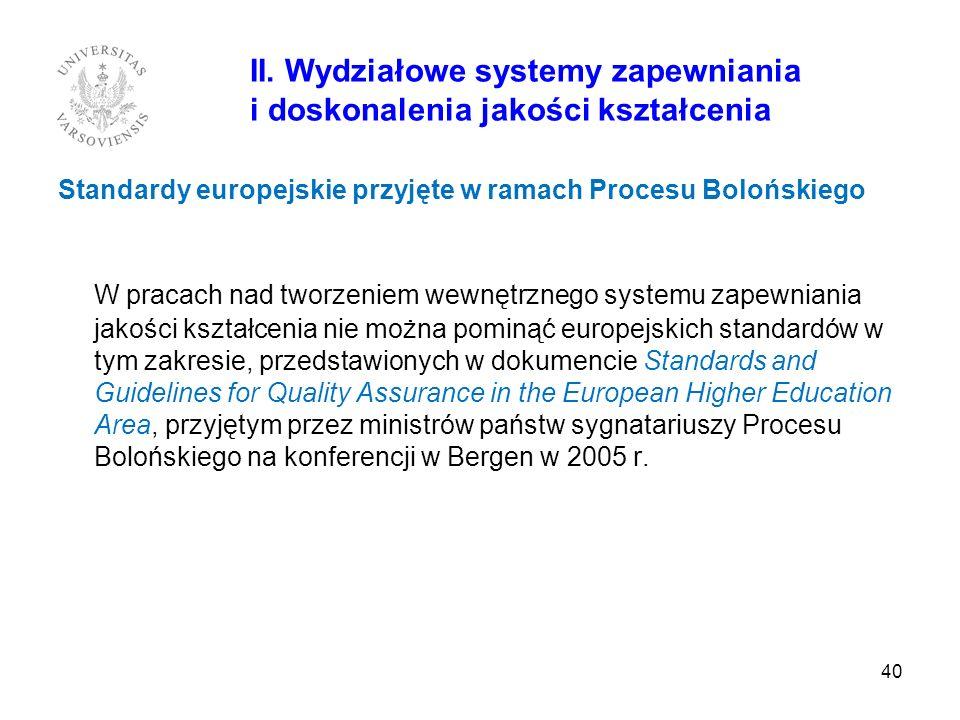 40 II. Wydziałowe systemy zapewniania i doskonalenia jakości kształcenia Standardy europejskie przyjęte w ramach Procesu Bolońskiego W pracach nad two