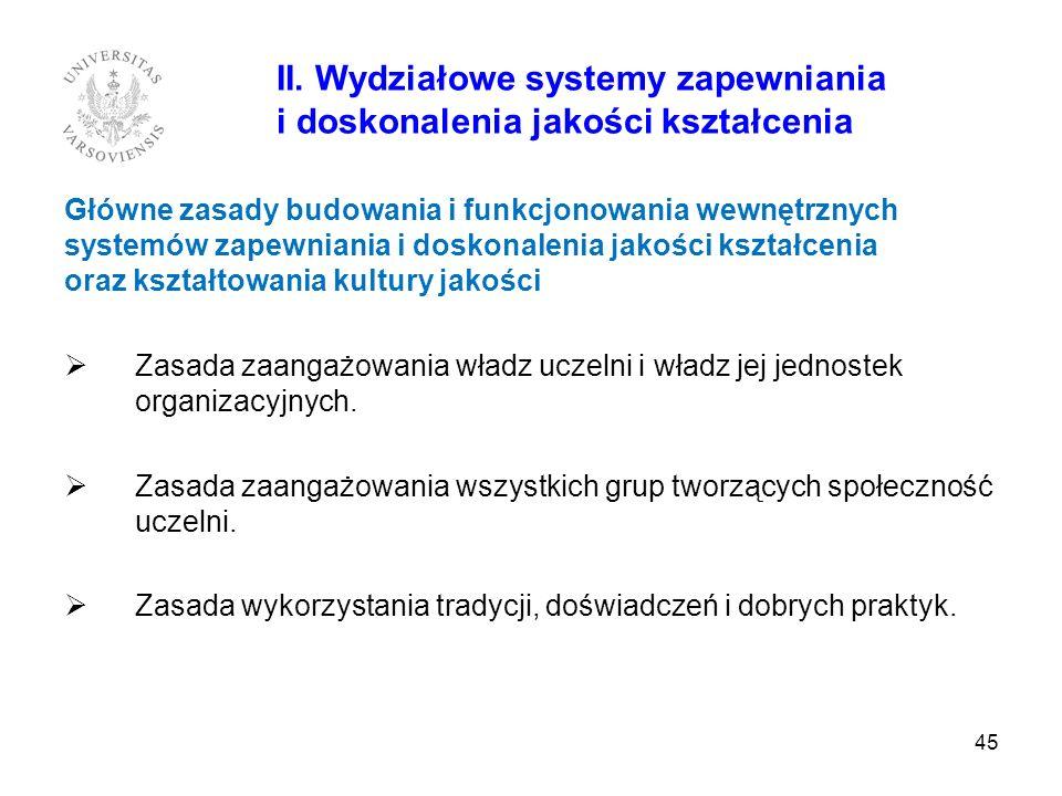 45 II. Wydziałowe systemy zapewniania i doskonalenia jakości kształcenia Główne zasady budowania i funkcjonowania wewnętrznych systemów zapewniania i