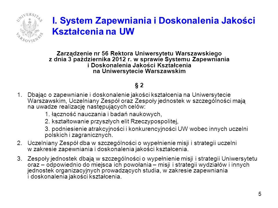 I. System Zapewniania i Doskonalenia Jakości Kształcenia na UW Zarządzenie nr 56 Rektora Uniwersytetu Warszawskiego z dnia 3 października 2012 r. w sp