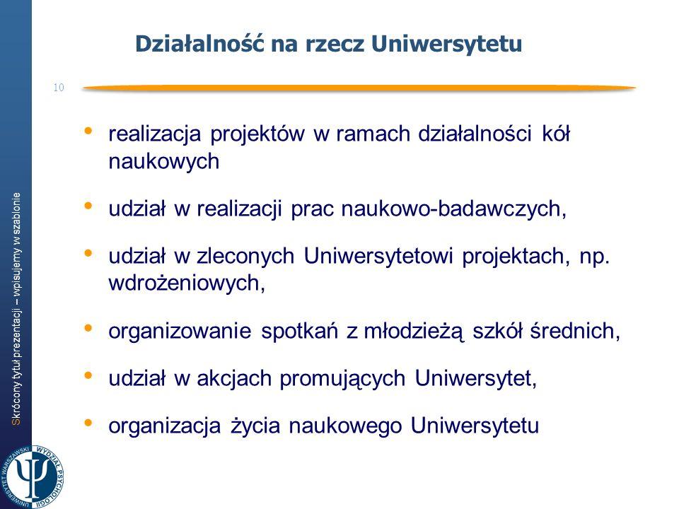 Skrócony tytuł prezentacji – wpisujemy w szablonie 10 Działalność na rzecz Uniwersytetu realizacja projektów w ramach działalności kół naukowych udzia