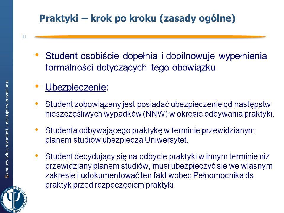 Skrócony tytuł prezentacji – wpisujemy w szablonie 11 Praktyki – krok po kroku (zasady ogólne) Student osobiście dopełnia i dopilnowuje wypełnienia fo