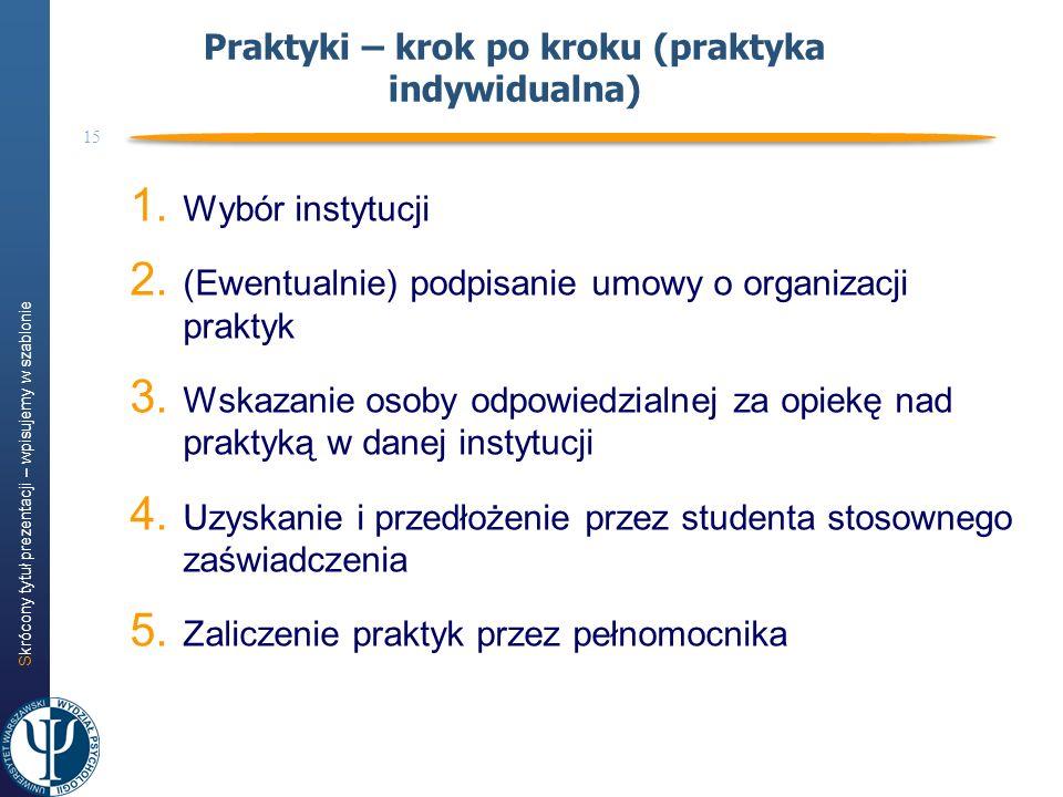 Skrócony tytuł prezentacji – wpisujemy w szablonie 15 1. Wybór instytucji 2. (Ewentualnie) podpisanie umowy o organizacji praktyk 3. Wskazanie osoby o