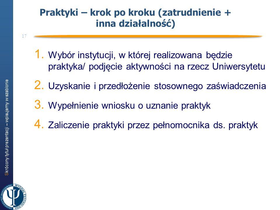 Skrócony tytuł prezentacji – wpisujemy w szablonie 17 1. Wybór instytucji, w której realizowana będzie praktyka/ podjęcie aktywności na rzecz Uniwersy