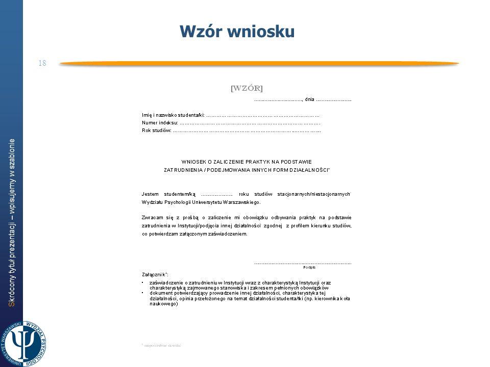 Skrócony tytuł prezentacji – wpisujemy w szablonie 18 Wzór wniosku