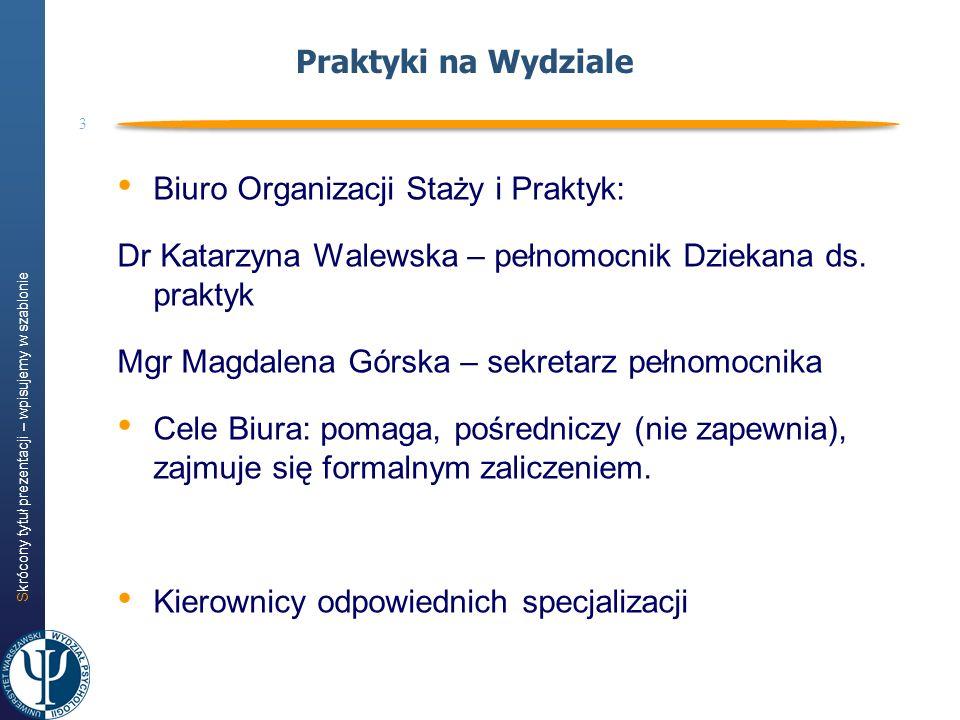 Skrócony tytuł prezentacji – wpisujemy w szablonie 3 Praktyki na Wydziale Biuro Organizacji Staży i Praktyk: Dr Katarzyna Walewska – pełnomocnik Dziek