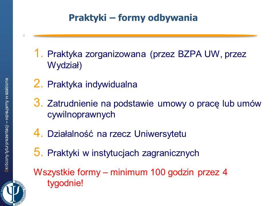 Skrócony tytuł prezentacji – wpisujemy w szablonie 4 Praktyki – formy odbywania 1. Praktyka zorganizowana (przez BZPA UW, przez Wydział) 2. Praktyka i