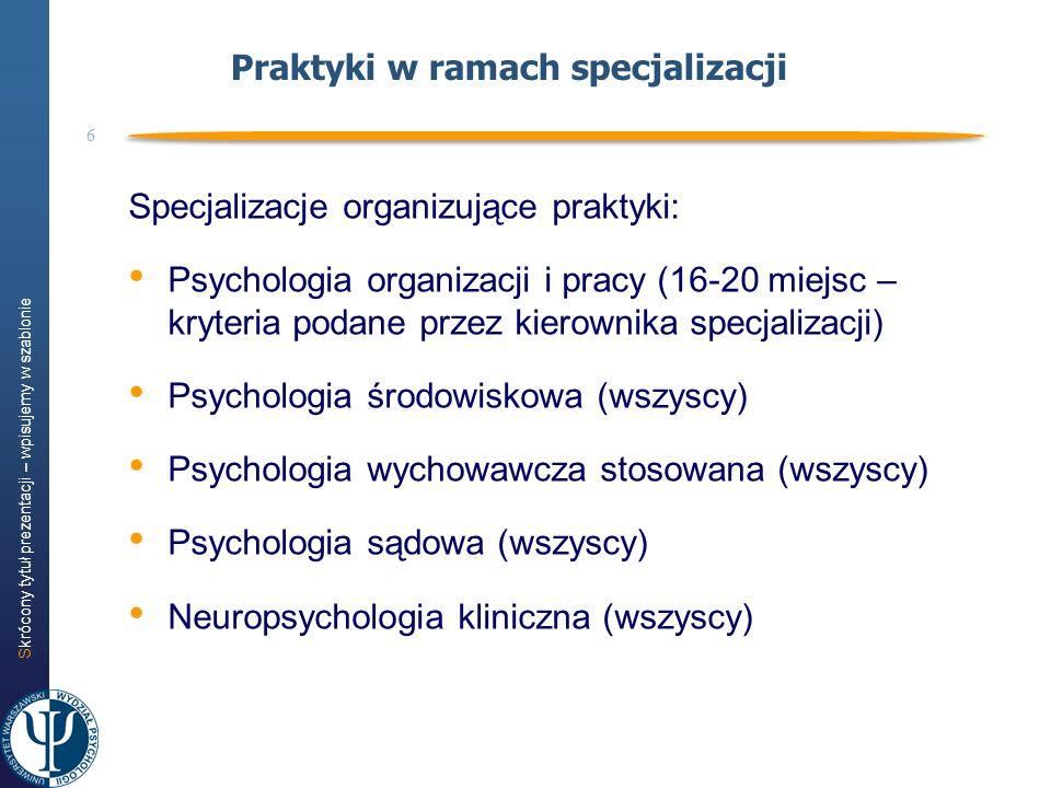 Skrócony tytuł prezentacji – wpisujemy w szablonie 6 Praktyki w ramach specjalizacji Specjalizacje organizujące praktyki: Psychologia organizacji i pr