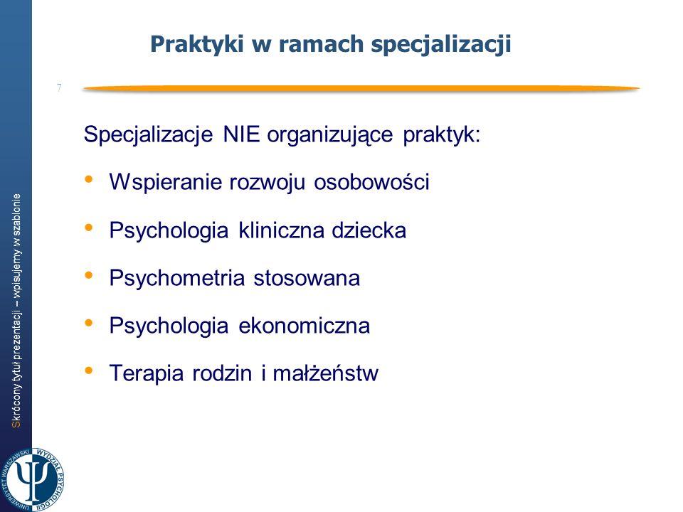 Skrócony tytuł prezentacji – wpisujemy w szablonie 7 Praktyki w ramach specjalizacji Specjalizacje NIE organizujące praktyk: Wspieranie rozwoju osobow