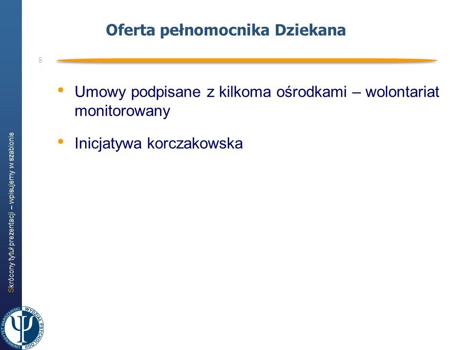 Skrócony tytuł prezentacji – wpisujemy w szablonie 8 Oferta pełnomocnika Dziekana Umowy podpisane z kilkoma ośrodkami – wolontariat monitorowany Inicj