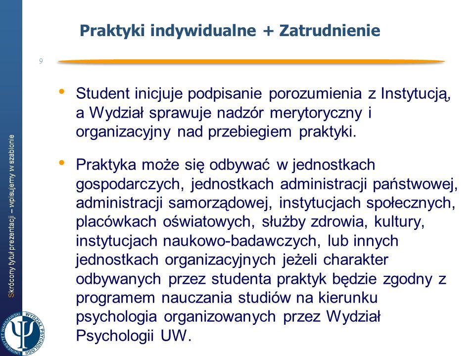 Skrócony tytuł prezentacji – wpisujemy w szablonie 9 Praktyki indywidualne + Zatrudnienie Student inicjuje podpisanie porozumienia z Instytucją, a Wyd