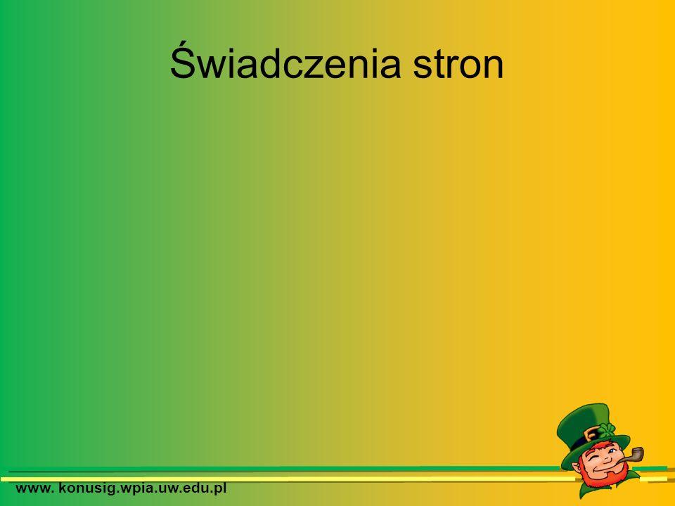 www. konusig.wpia.uw.edu.pl Świadczenia stron