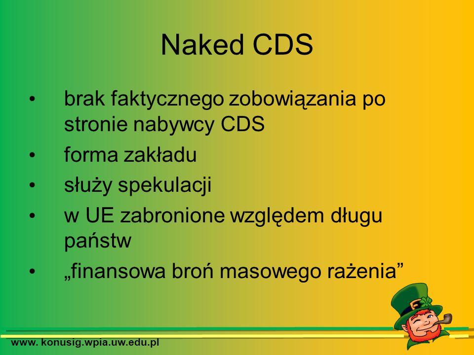 www. konusig.wpia.uw.edu.pl Naked CDS brak faktycznego zobowiązania po stronie nabywcy CDS forma zakładu służy spekulacji w UE zabronione względem dłu