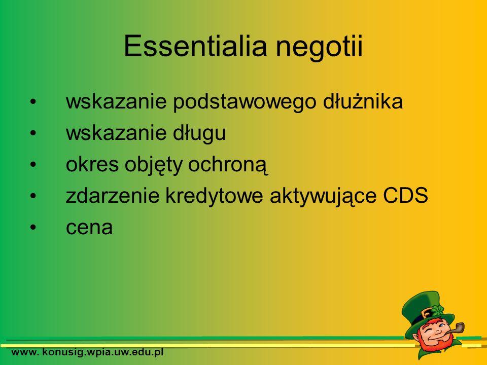 www. konusig.wpia.uw.edu.pl Essentialia negotii wskazanie podstawowego dłużnika wskazanie długu okres objęty ochroną zdarzenie kredytowe aktywujące CD