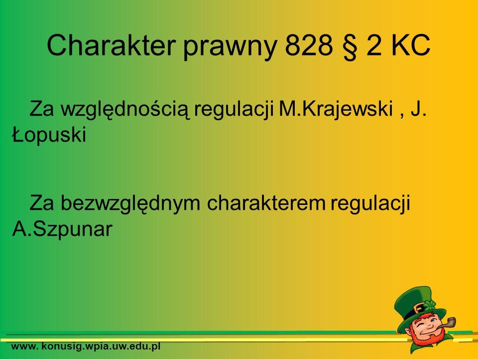 www. konusig.wpia.uw.edu.pl Charakter prawny 828 § 2 KC Za względnością regulacji M.Krajewski, J. Łopuski Za bezwzględnym charakterem regulacji A.Szpu