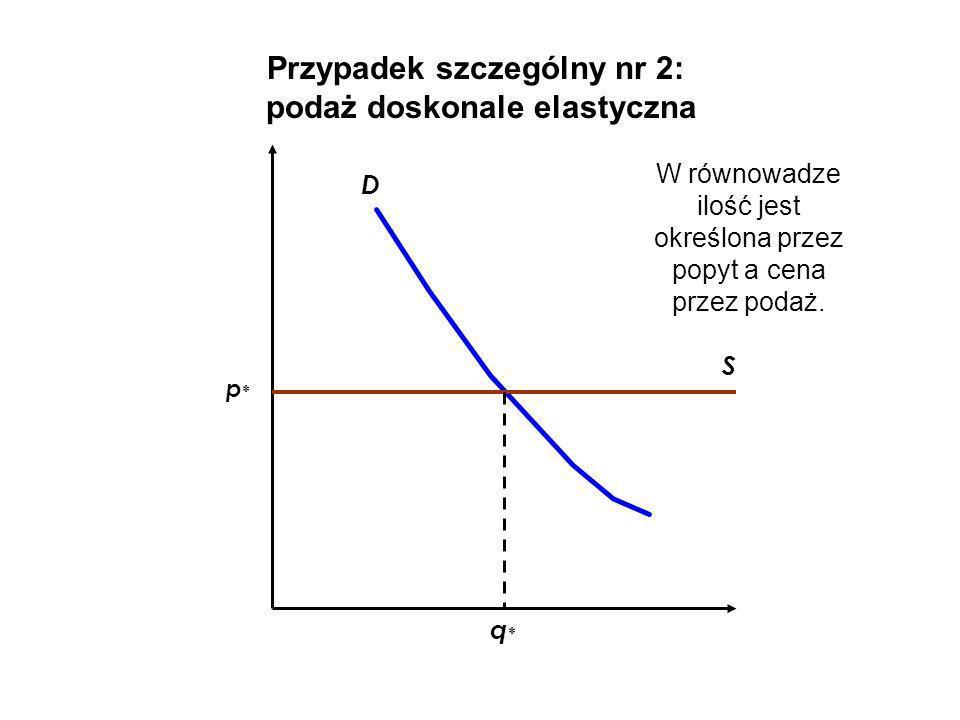 Przypadek szczególny nr 2: podaż doskonale elastyczna D S q*q* p*p* W równowadze ilość jest określona przez popyt a cena przez podaż.