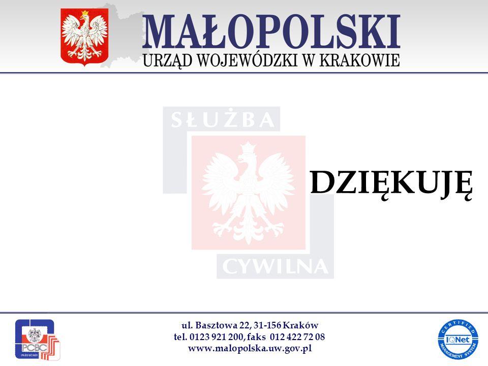 ul. Basztowa 22, 31-156 Kraków tel. 0123 921 200, faks 012 422 72 08 www.malopolska.uw.gov.pl DZIĘKUJĘ